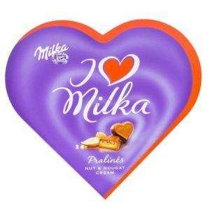 Praline de ciocolata cu crema de capsuni Milka 120 gr