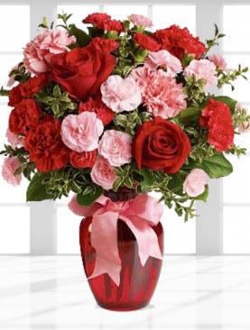 Buchet de flori cu garoafe rosii