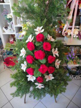 Coroana funerara cu trandafiri rosii - Ultimul drum