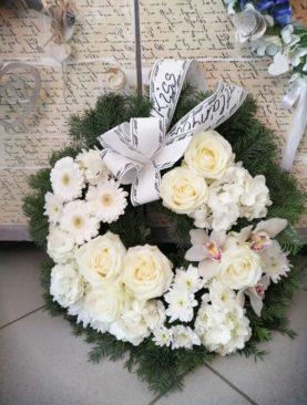 Coroana funerara circulara cu orhidee - Ramas bun