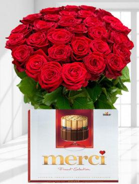 Buchet de 31 trandafiri rosii - Ciocolata merci cadou