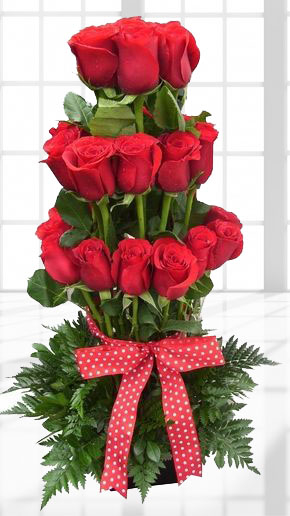 Buchet de 29 trandafiri rosii - IN 3 trepte