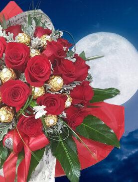 Buchet de trandafiri cu ciocolata