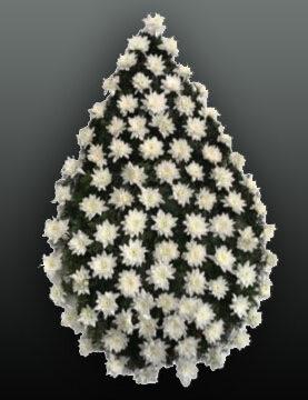 Coroana funerara din crizanteme albe
