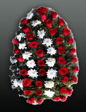 Coroana funerara din trandafiri rosii si crizanteme albe