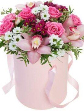 Aranjament in cutie - Pink flowers