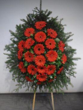 Coroana Funerara cu Gerbere Rosii