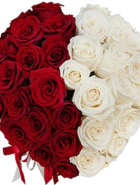 Cutie cu Trandafiri Rosii si Albi - Split Heart